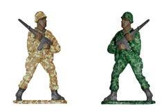 Öken- och skogkamouflagesoldater Arkivbild