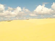 Öken och solljus för vit- eller gulingsanddyn på varm sommar Arkivfoto