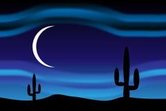 Öken på den månbelysta natten stock illustrationer