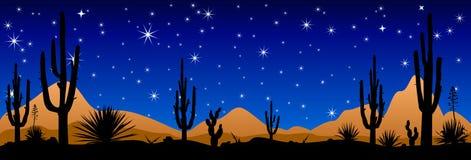 Öken på natten, stjärnaskenet Royaltyfri Foto
