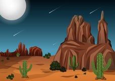 Öken på nattetidplatsen vektor illustrationer