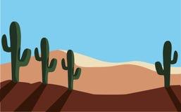 Öken som är torr med kaktuslandskapplats stock illustrationer