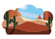 Öken som är torr med kaktuslandskapplats royaltyfri illustrationer