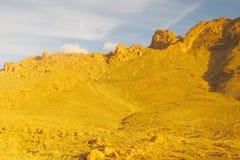 Ökenberg i solnedgångljus Arkivbild
