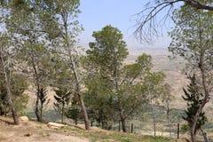 Ökenberglandskap (den flyg- sikten), Jordanien, Mellanösten Arkivfoton