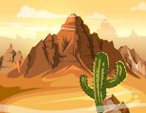 Ökenkullar, kaktus nära det stora berget Gul bakgrundsillustration för vektor royaltyfri illustrationer