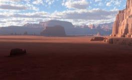 ökenlandskap för fantasi 3D Vektor Illustrationer