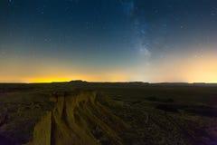 Ökenlandskap i natt Navarra Arkivfoton