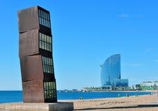Ökenlandskapsommar på kusten Barcelona Arkivfoto
