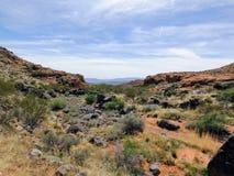 Ökenpanoramautsikter från att fotvandra skuggar runt om St George Utah runt om Beck Hill, Chuckwalla, sköldpaddaväggen, paradiska Arkivbild