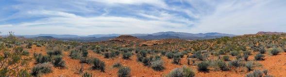 Ökenpanoramautsikter från att fotvandra skuggar runt om St George Utah runt om Beck Hill, Chuckwalla, sköldpaddaväggen, paradiska Royaltyfri Foto