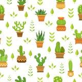 Ökenväxter med blommor Kaktus i krukar seamless vektor för modell stock illustrationer