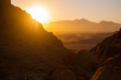 Öknar och landskap för sanddyn på solnedgången arkivfoton