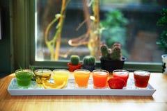 Öknen för drinken för fruktsaft för ny frukt för ett sunt bantar bakgrund Royaltyfri Fotografi