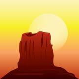 Öknen vaggar bildande i solnedgången Arkivfoto