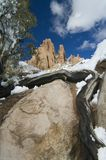 öknen vaggar snow Fotografering för Bildbyråer