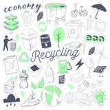 Ökologie-alternative Energie-Hand gezeichnetes Gekritzel Freihändiges Eco bereiten Element-Satz auf Stockfotografie