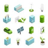 Ökologie-Energie-isometrische Ikonen eingestellt stock abbildung