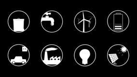 Ökologie-/Grünenergie belebte Ikonen für Ihre Website, Anwendung, Darstellung oder Film stock video