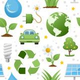 Ökologie-Ikonen-nahtloses Muster Stockbilder