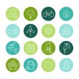 Ökologie-Ikonen, organische natürliche Symbole Lizenzfreies Stockbild