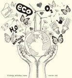 Ökologie kritzelt die Ikonen, die auf Papier zeichnen. Lizenzfreie Stockfotografie