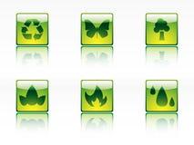 Ökologie-, Leistung- und Energieikonen Lizenzfreies Stockfoto