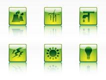 Ökologie-, Leistung- und Energieikonen Lizenzfreie Stockbilder