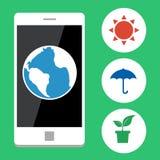 Ökologie mit Handy, Vector flaches Design Lizenzfreie Stockbilder