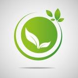 Ökologie organisch mit Blätter Vektorillustration Lizenzfreies Stockfoto