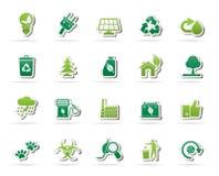 Ökologie-, Umgebungs- und Naturikonen Lizenzfreie Stockfotografie