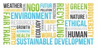 Ökologie, Umwelt, nachhaltige Entwicklung - Wort-Wolke stockfotografie
