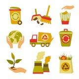 Ökologie-und Abfall-Ikonen-Satz stock abbildung