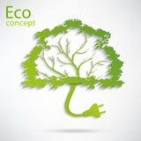 Ökologie- und Abfallsteckersymbol mit eco Lizenzfreie Stockbilder