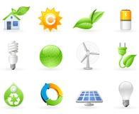 Ökologie und grünes Energieikonenset Lizenzfreies Stockfoto