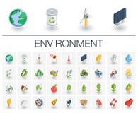 Ökologie und isometrische umweltsmäßigikonen Vektor 3d Lizenzfreie Stockbilder