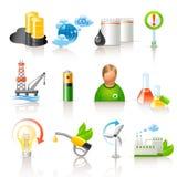 Ökologie- und Kraftstoffikonen lizenzfreie abbildung