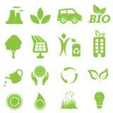 Ökologie- und Umgebungsikonenset Lizenzfreies Stockbild