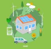 Ökologieerde mit eco Konzept-Einzelteilikonen Lizenzfreies Stockfoto