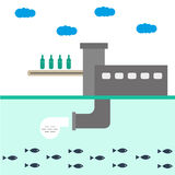 ÖkologieFabrik-Vektorillustration infographics Der Schutz der Natur Abfall, Wasserverschmutzung Lizenzfreie Stockbilder