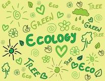 Ökologiegekritzelhintergrund lizenzfreie abbildung