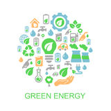 Ökologiehintergrund mit Umwelt, grüne Energie Stockfotografie