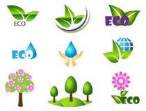 Ökologieikonensatz. Öko-Ikonen. Stockbild
