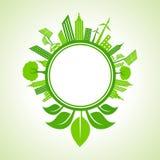 Ökologiekonzept - eco Stadtbild mit Blatt um den Kreis Lizenzfreie Stockfotografie