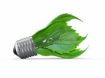 Ökologiekonzept. Glühlampe mit Blatt stock abbildung