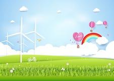 Ökologiekonzept mit grüner Stadt und Bäumen Papierkunstart Lizenzfreie Stockfotos