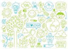 Ökologieskizzen und Handgezogene Ikonen lizenzfreie stockfotos