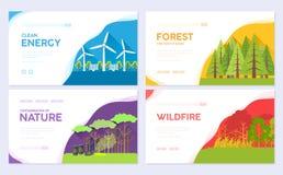 Ökologietagesvektorbroschüren-Kartensatz Ökologisch auf Naturschablone der Einladungsschablone von flyear, Netzfahne, stock abbildung