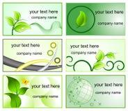Ökologiezeichen und bussines Kartenschablonen Lizenzfreies Stockfoto