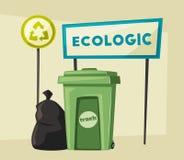 Ökologisch und Abfall Katze entweicht auf ein Dach vom Ausländer Reinigungsfirma stock abbildung
